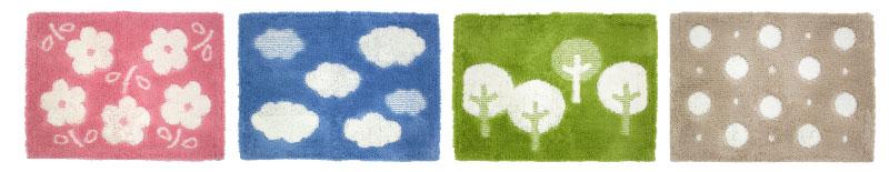 フラワーパーク(ピンク)、クラウド(ブルー)、ツリー(グリーン)、リズムドット(ベージュ)